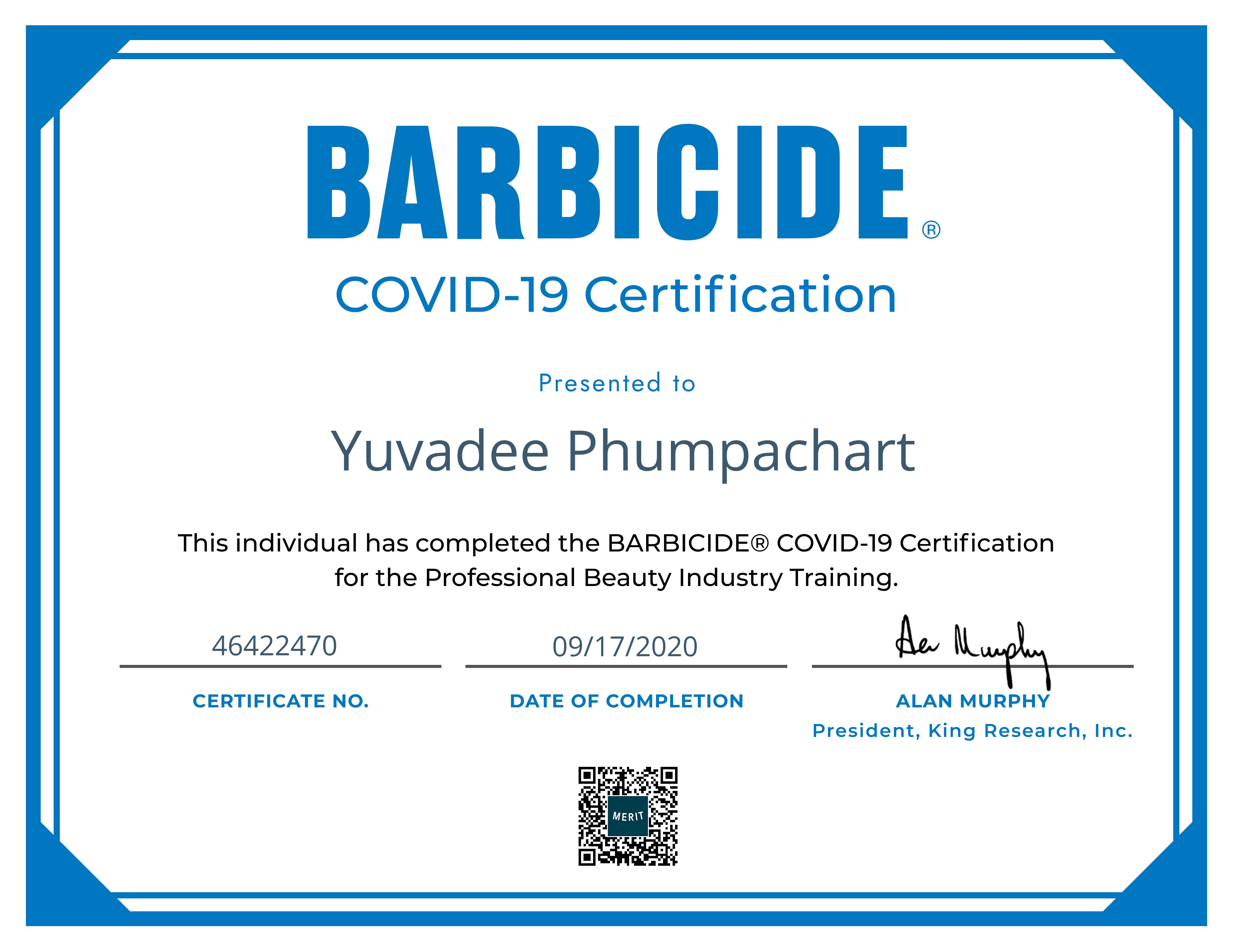 Digital certificate for a BARBICIDE® COVID-19 Certification merit sent to Yuvadee Phumpachart from BARBICIDE®